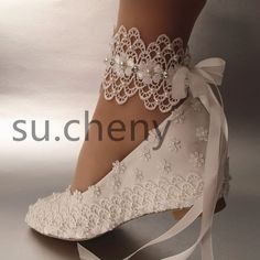 """Women's 2"""" heel/ wedge white silk satin lace& pearl ribbon ankle Brides Shoes - Free Shipping"""