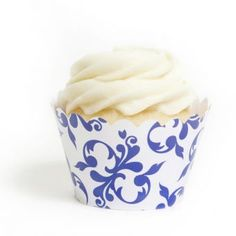 Royal Blue Filigree Cupcake Wrappers- Cupcakewrappers.ca