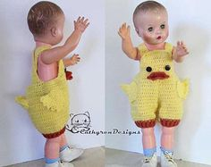 Ducking Overall Shorties Rompers Buttons at Legs for Easy Baby First Halloween Costume, Baby Costumes, Baby Pony, Romper Pattern, Unicorn Pattern, Baby Overalls, Crochet Unicorn, Baby Ducks, Crochet Bebe