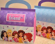 Lego Friends inspired favor / treat box for birthday party pdf printable DIY digital file