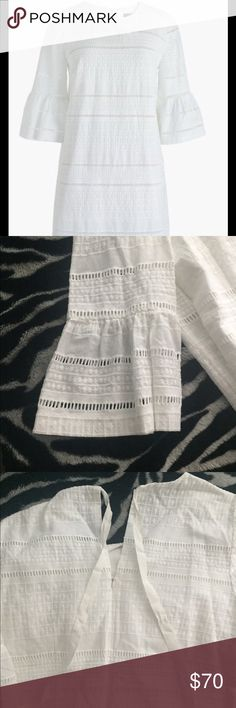 """J. Crew flutter-sleeve White eyelet Dress Sz 2 Classic and perfect dress for summer. Straight silhouette with a zip-back and tie-bow closure. Approximately 36"""" long J. Crew Dresses"""