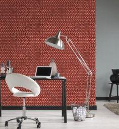 Mac Stopa Vliesbehang 3D Wave Rood-Zilver 32707-5 Desk Lamp, Table Lamp, Mac, Home Decor, Geometry, Lamp Table, Interior Design, Home Interior Design, March