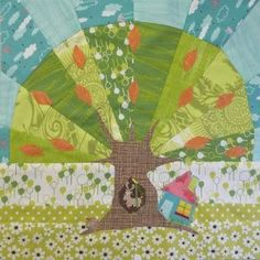Make a quaint little quilt block pattern that will put you in a peaceful mood with this Under the Fig Tree Block. You'll combine beautiful paper piecing patterns with raw edge applique quilt patterns to create a charming design. Applique Quilt Patterns, Paper Piecing Patterns, Pattern Blocks, House Quilts, Baby Quilts, Mini Quilts, Summer Quilts, Tree Quilt, Foundation Paper Piecing
