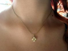 Vintage Gold Tone Simple Chain with Pearl by AntiqueAlchemists, $10.00