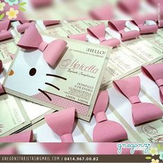 Elegant and personalized - Ideas for birthday with the theme . Elegantes y personalizadas - Ideas para realizar el cumpleaños con la temática. Elegant and personalized - Ideas for birthday with the theme of kittens Hello Kitty Baby, Hello Kitty Themes, Hello Kitty Invitations, Diy Invitations, Hello Kitty Birthday Theme, Cat Party, Party Time, Aristocats, Ideas Para