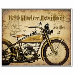 Rare handcrafted Vintage Motorcycle art prints with map of Sturgis artistically added to the background. Old black and white vintage photo art prints of motorcycle racing too. Large collection of Harley Davidson, Henderson, Indian motorcycles and more. Great gift for motorcycle enthusiasts and collectors of vintage bikes!