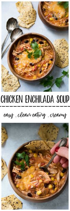 This Clean Eating Creamy Chicken Enchilada Soupis a quick and easy meal that is full of amazing flavors and is perfect for a chilly, busy day! via @kimscravings