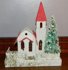 Vintage Christmas Putz Village Church by TimePassagesBoutique