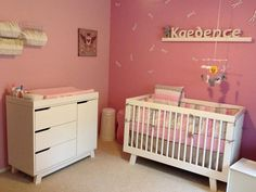 nursery a perfectly girly space with pink walls olli u0026 lime bedding and babyletto hudson convertible crib and changer dresser