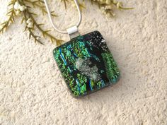 Petite Green Silver Black Necklace  Dichroic Jewelry by ccvalenzo