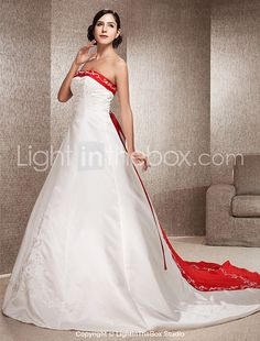 Perfect A Line Princess Strapless Cathedral Train Satin Wedding Dress with Appliques Embroidered by LAN TING BRIDE