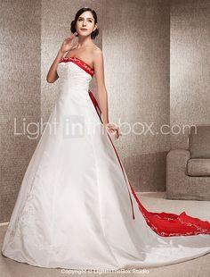 Lanting Bride A-line / Princess Petite / Plus Sizes Wedding Dress-Chapel Train Strapless Satin 2016 - $169.99