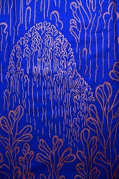 1970s 80s Biomorphic Print on Navy Blue by HeritageFabrics on Etsy
