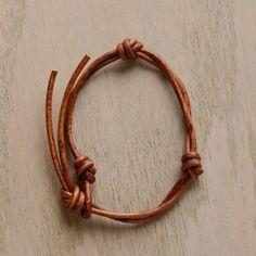 Leather Knot Bracelet- Tan