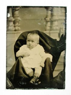 Tintype Photo of Cute Little Baby with Hidden Mother Way Off to The Right Side | eBay
