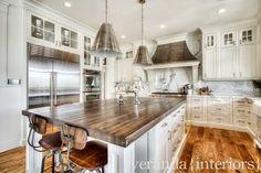 Kitchen Decor - Cabinets, Calcatta Marble, butcher top island in lieu of granite, white cabinets.