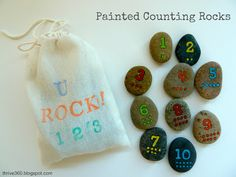 A fun way to teach numbers and counting with painted rocks. #kids #toddlers #numbers