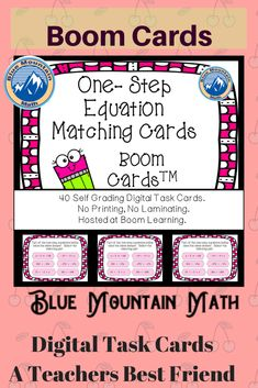 Boom Cards™ are a great way for students to practice solving one step equations and assessing their understanding. This will give students a challenge in solving equations. Students will see 6 different equations and need to select the two with the same answer. This set of Boom Cards features 40 different Digital Self-Checking Task Cards. (No printing, cutting, laminating, or grading!)