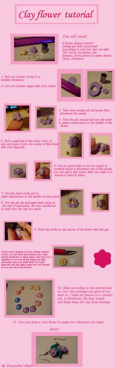 Clay flower tutorial by ~EruwaedhielElleth on deviantART