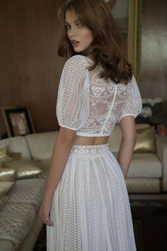 Wedding dresses lace - 21 Wedding Outfit Ideas For The Less Conventional Bride – Wedding dresses lace 2016 Wedding Dresses, Wedding Gowns, Dresses 2016, Lace Wedding, Wedding Summer, Bridal Gown, Gowns 2017, 2 Piece Wedding Dress, Parisian Wedding