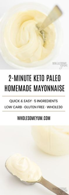15 Best Keto Appetizer Recipes: Low Carb Snacks for Game Day Easy Keto Paleo Mayo Recipe with Avocado Oil - The EASIEST instructions for how to make avocado mayo at home. Just 2 minutes and 5 ingredients are all you need for the best keto paleo mayonnaise Keto Mayonnaise Recipe, Homemade Mayonnaise, How To Make Mayonnaise, Paleo Sauces, Low Carb Sauces, Healthy Diet Recipes, Ketogenic Recipes, Keto Recipes, Low Sugar Recipes