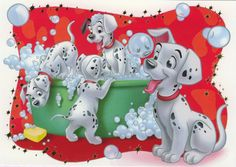 *101 DALMATIANS....and they're all trying to get into the tub at once....