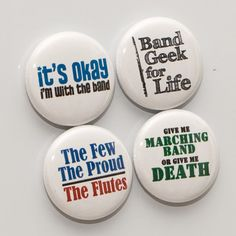Four Marching Band Flute Buttons or Magnets - size one inch on Etsy, $5.00