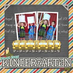Kindergarten - Scrapbook.com - What a memorable layout for that First Day of Kindergarten. Great lined paper, cluster of school buses and the overlapping of the letters are just fantastic. #digital #scrapbooking