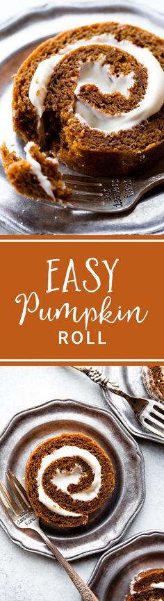 How to make the BEST pumpkin roll! Moist, pumpkin spice, easy, and filled with cream cheese frosting! Recipe on sallysbakingaddiction.com