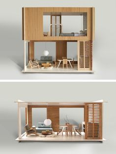 Modern Doll House: Miniio I know!it's a doll house, but what amazing example of architectural model. Miniature Furniture, Doll Furniture, Dollhouse Furniture, Urban Furniture, Modern Dollhouse, Dollhouse Design, Dollhouse Dolls, Dollhouse Miniatures, Miniature Houses