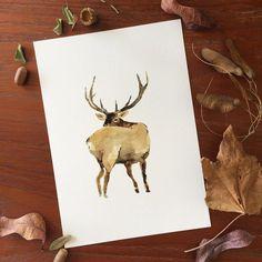 Holiday sale Elk art print of original watercolor by TheJoyofColor