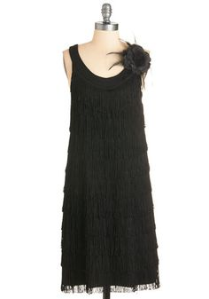 A Charleston of Style Dress - Black, Solid, Flower, Fringed, Party, Vintage Inspired, 20s, LBD, Shift, Sleeveless, Scoop, Short