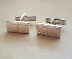 Play a winning hand with domino shaped cufflinks Gifts For Father, Fathers, Tie Clips, Sterling Silver Cuff, Hand Engraving, Cufflinks, Accessories, Jewelry, Parents
