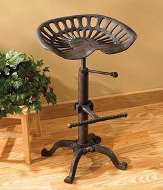 Adjustable Metal Saddle Tractor Bar Stool Seat Workshop Garage Chair Rustic
