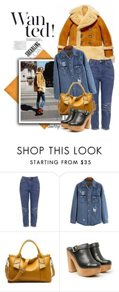 """""""Shearling Coat & Clogs"""" by queenvirgo ❤ liked on Polyvore featuring Topshop, Kelsi Dagger Brooklyn, women's clothing, women, female, woman, misses and juniors"""