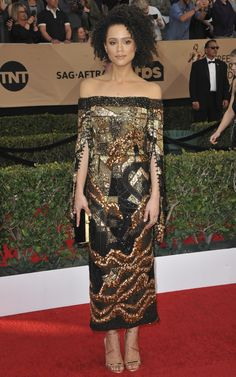 Nathalie Emmanuel in J. Mendel Couture - Screen Actors Guild Awards (SAG)