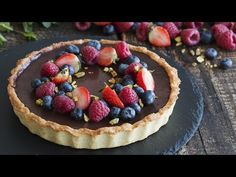 Chocolate Tart - Tarte au Chocolat - is another chocolate French recipe that is really delightful and satisfying. It is a real Tarte au Chocolat, made with a. Baked Strawberries, Chocolate Strawberries, Salted Caramel Tart, Salted Caramels, Chocolate Filling, Chocolate Tarts, Chocolate Cream, Cupcakes, Wonderful Recipe