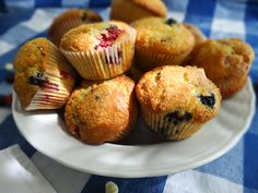 Red, White, and Blue Muffins.  Blueberry, Raspberry, and White chocolate mixed in! Yum!