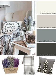 3 different color palettes and accessory ideas for creating a cozy home. Neutral, traditional and jewel tone. Image via Wood Grain Cottage. BHG