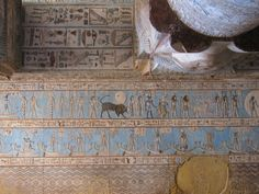 Temple of Hathor, Dendera, Egypt Zodiac signs on the astronomical ceiling in the outer hypostyle hall
