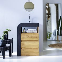 Designed for smaller bathroom's, this enchanting wash unit combines a smooth terrazzo washbasin, with a natural, solid teak cabinet. #tikamoon