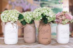 Painted & distressed quart sized mason jars. Burlap twine tied at the top for charming rustic touch. Weddings Special Events Home Decor Many more colors and options available.  $32 IN STOCK.  https://www.etsy.com/shop/TheShabbyChicParty