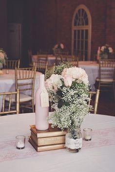 Diy wedding centerpieces Babies breath pink hydrangea Roses wedding centerpieces Pink and gold wedding Vintage wedding Book centerpieces