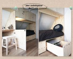 E-mail - Nina Hollenberg - Outlook Attic Rooms, Attic Spaces, Small Spaces, Paint Colors For Living Room, Bedroom Colors, Kids Boy, Pastel Home Decor, Built In Bed, Lounge Design
