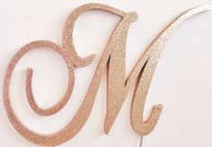 Rose Gold Glitter Monogram Cake Topper all by LeandraNDesigns