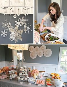 winter onederland party-room looks just like our dining room!  Great example of decorations and food.  I even have snowflakes like this