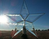 Beveled Glass Christmas Tree Topper, Classic 5 point Star
