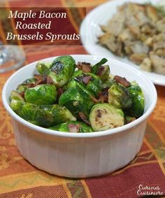 Slightly sweet, slightly salty this recipe for Maple Bacon Brussels Sprouts is sure to be a winning side dish on your holiday table or any day! Healthy Holiday Recipes, Fall Recipes, Real Food Recipes, Cooking Recipes, Budget Recipes, Yummy Recipes, Maple Bacon, Roast Recipes, Vegetable Side Dishes