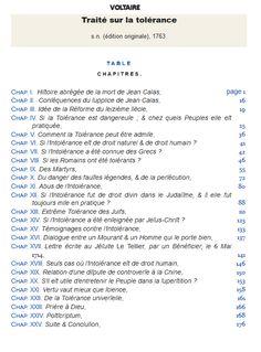 """Voltaire """"Traité sur la tolérance"""" ( 1763 ) Sommaire - Treatise on tolerance"""" ( 1763 ) Table of content """" http://fr.wikisource.org/wiki/Page:Voltaire_-_Trait%C3%A9_sur_la_tol%C3%A9rance_1763.djvu/9"""