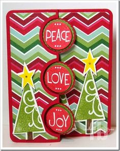 Peace, Love, Joy created by Frances Byrne using – The Stamps of Life and Sizzix Triple Circle Flip-its Framelits Christmas Card Crafts, Handmade Christmas, Holiday Cards, Christmas Cards, Jolly Holiday, Christmas Tree, Flip Cards, Fun Fold Cards, Pop Up Cards